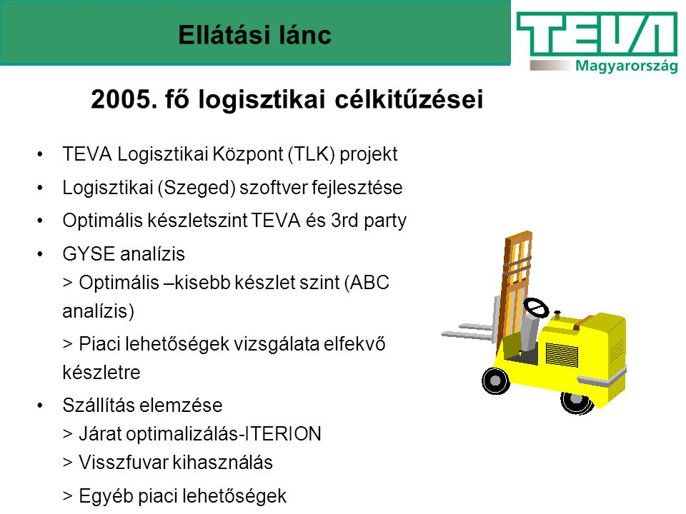 2005. fő logisztikai célkitűzései