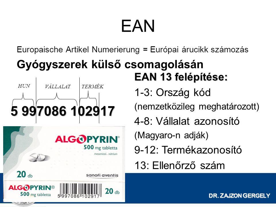 EAN 5 997086 102917 Gyógyszerek külső csomagolásán EAN 13 felépítése: