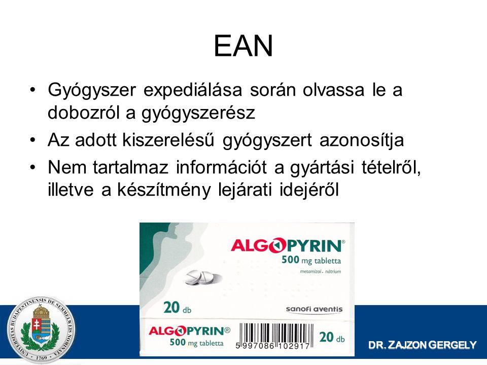 EAN Gyógyszer expediálása során olvassa le a dobozról a gyógyszerész