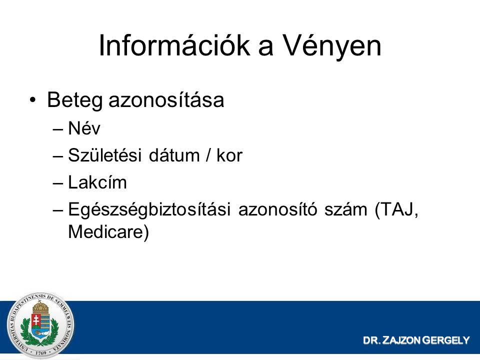 Információk a Vényen Beteg azonosítása Név Születési dátum / kor