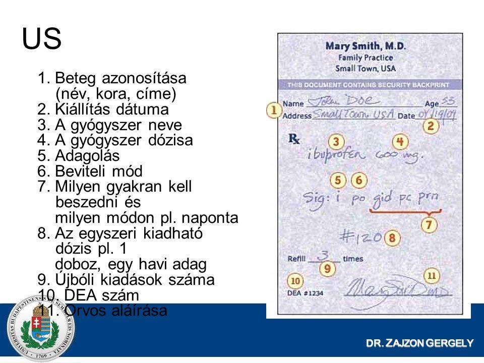 US 1. Beteg azonosítása (név, kora, címe) 2. Kiállítás dátuma