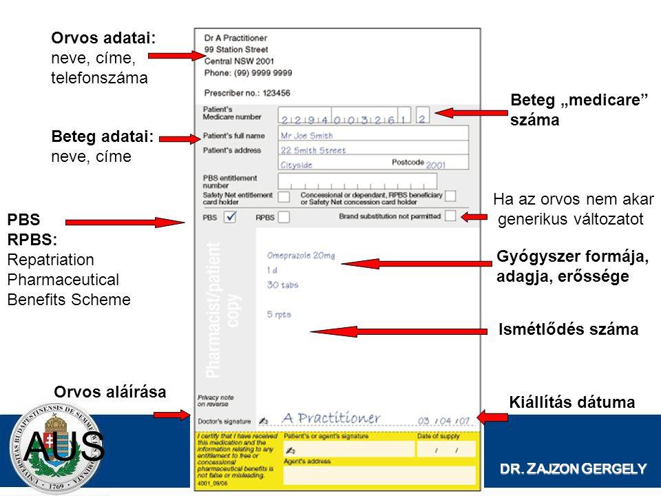 """AUS Orvos adatai: neve, címe, telefonszáma Beteg """"medicare száma"""