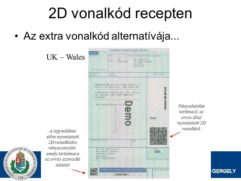 Vényadatokat tartlmazó, az orvos által nyomtatottt 2D vonalkód.