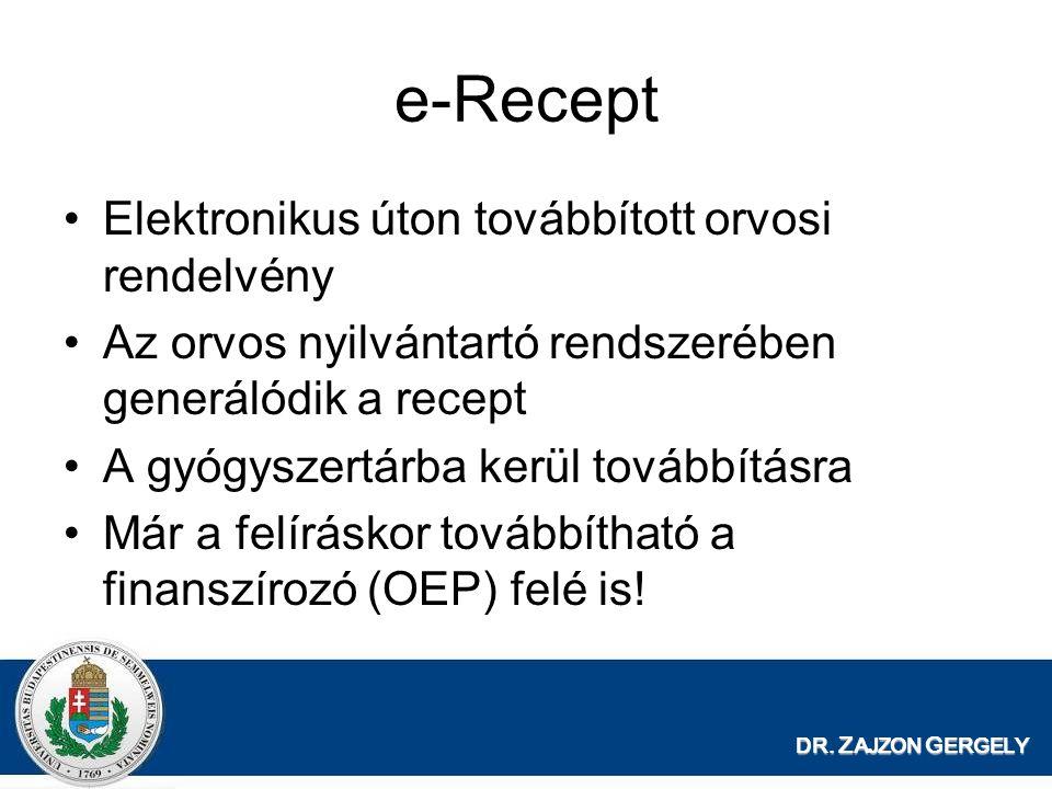 e-Recept Elektronikus úton továbbított orvosi rendelvény