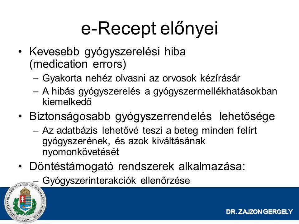 e-Recept előnyei Kevesebb gyógyszerelési hiba (medication errors)