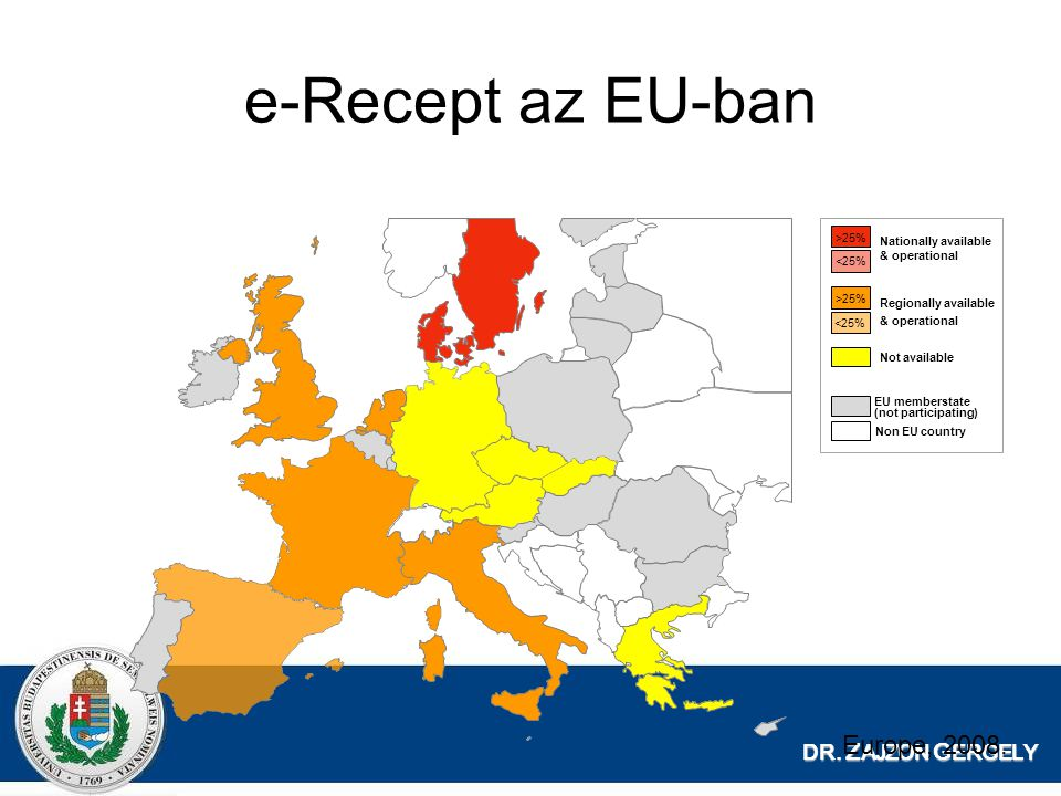 e-Recept az EU-ban Europe, 2008. DR. ZAJZON GERGELY >25%