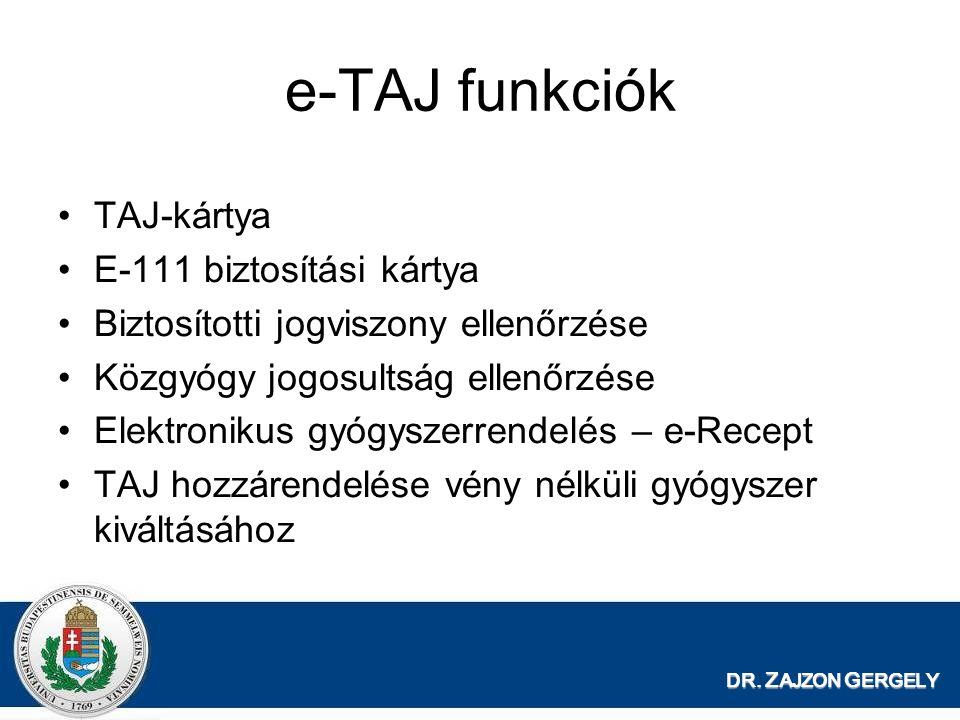 e-TAJ funkciók TAJ-kártya E-111 biztosítási kártya