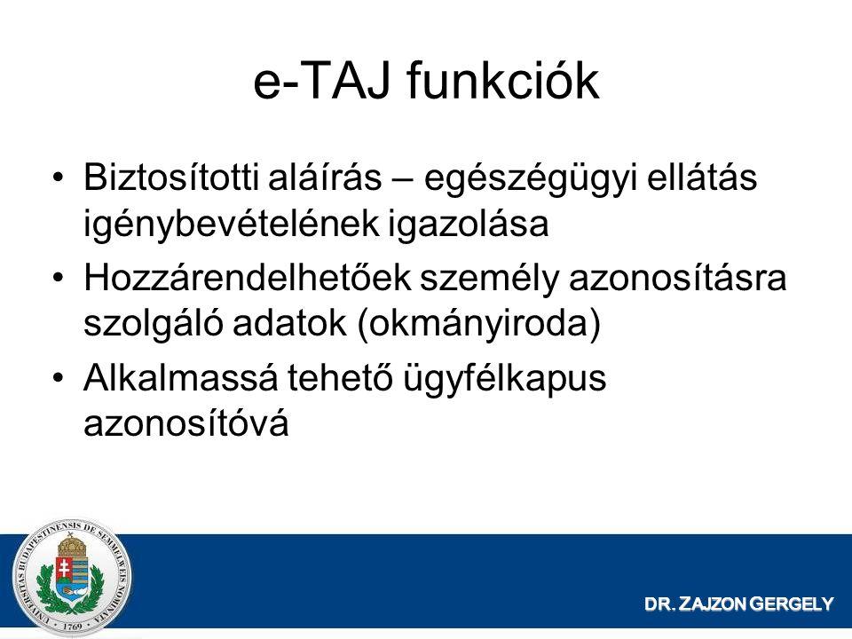 e-TAJ funkciók Biztosítotti aláírás – egészégügyi ellátás igénybevételének igazolása.