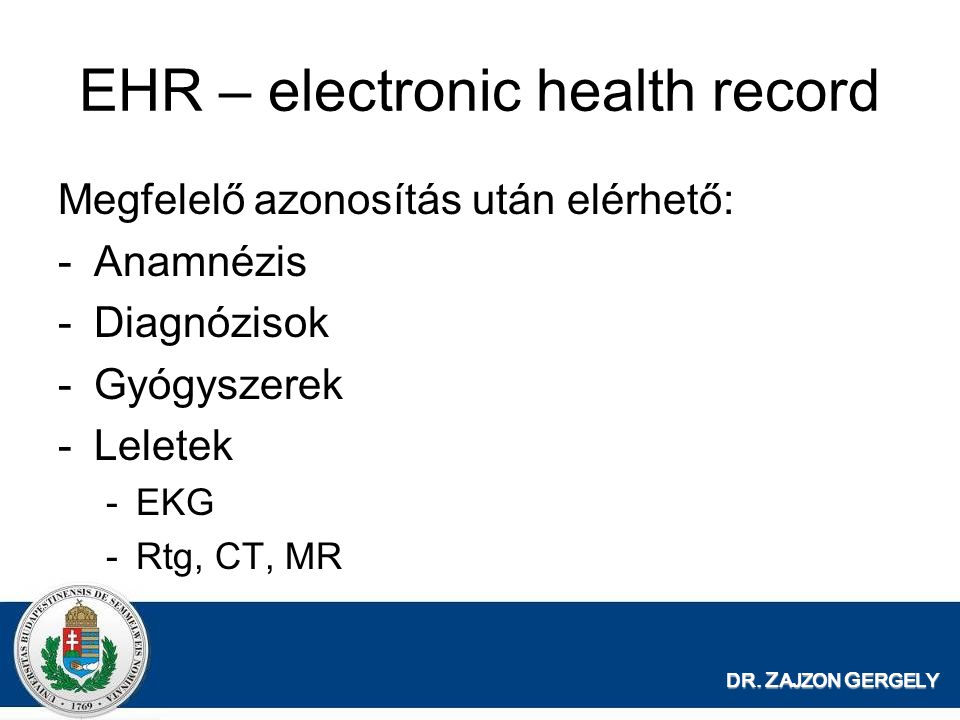 EHR – electronic health record