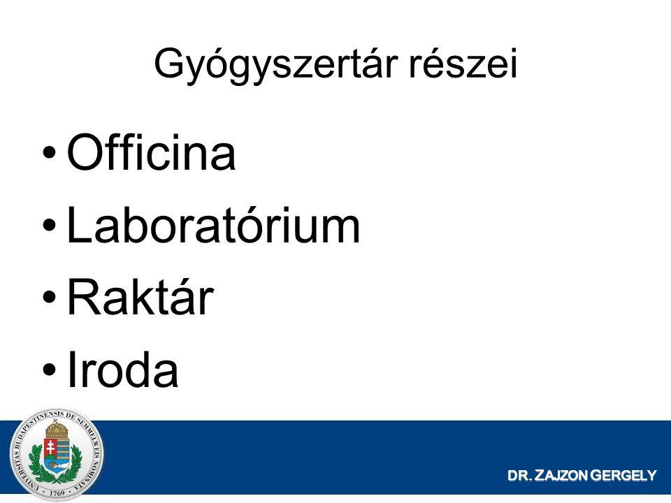 Officina Laboratórium Raktár Iroda Gyógyszertár részei