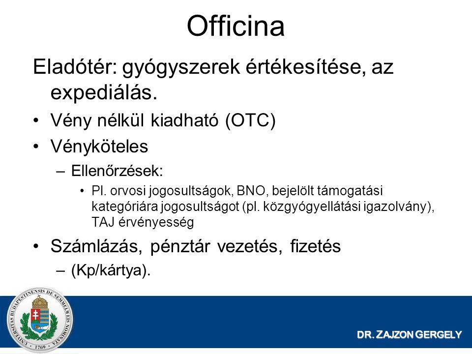 Officina Eladótér: gyógyszerek értékesítése, az expediálás.