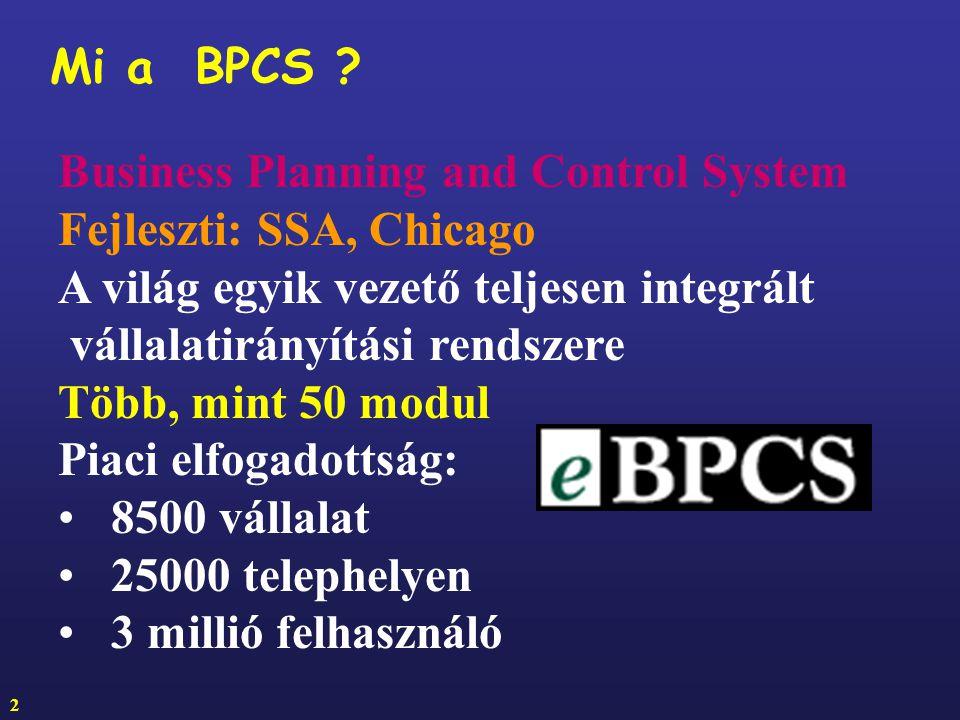 Mi a BPCS Business Planning and Control System. Fejleszti: SSA, Chicago. A világ egyik vezető teljesen integrált.