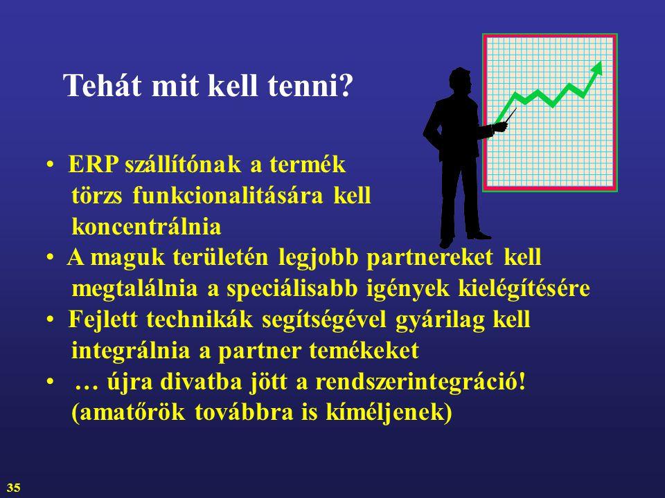 Tehát mit kell tenni ERP szállítónak a termék törzs funkcionalitására kell koncentrálnia.