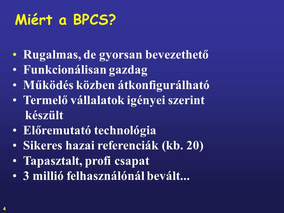 Miért a BPCS Rugalmas, de gyorsan bevezethető Funkcionálisan gazdag
