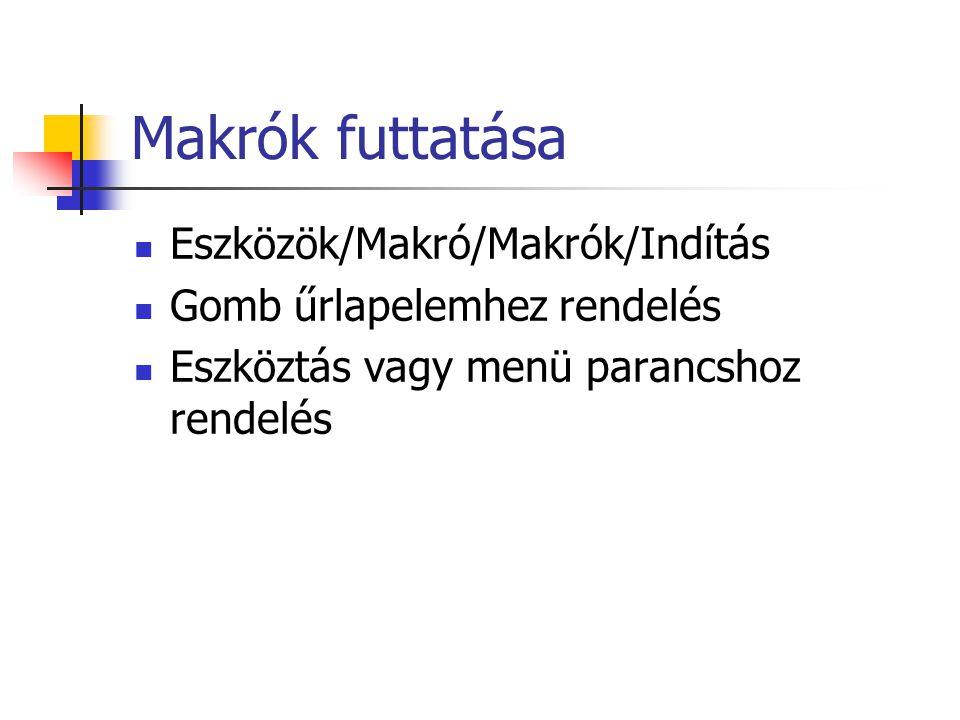 Makrók futtatása Eszközök/Makró/Makrók/Indítás