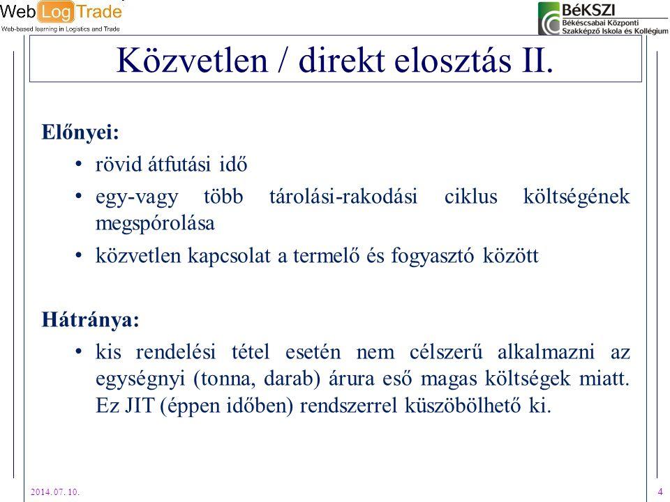 Közvetlen / direkt elosztás II.