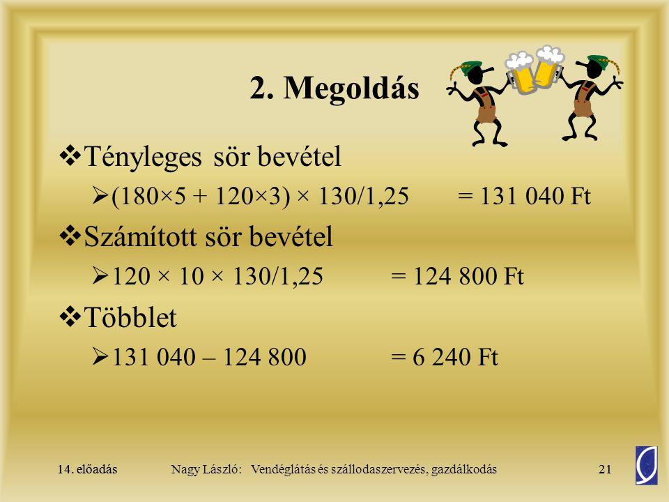 2. Megoldás Tényleges sör bevétel Számított sör bevétel Többlet