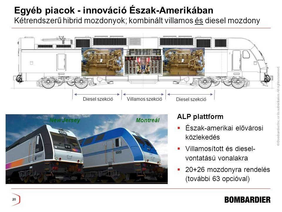 Egyéb piacok - innováció Észak-Amerikában Kétrendszerű hibrid mozdonyok; kombinált villamos és diesel mozdony
