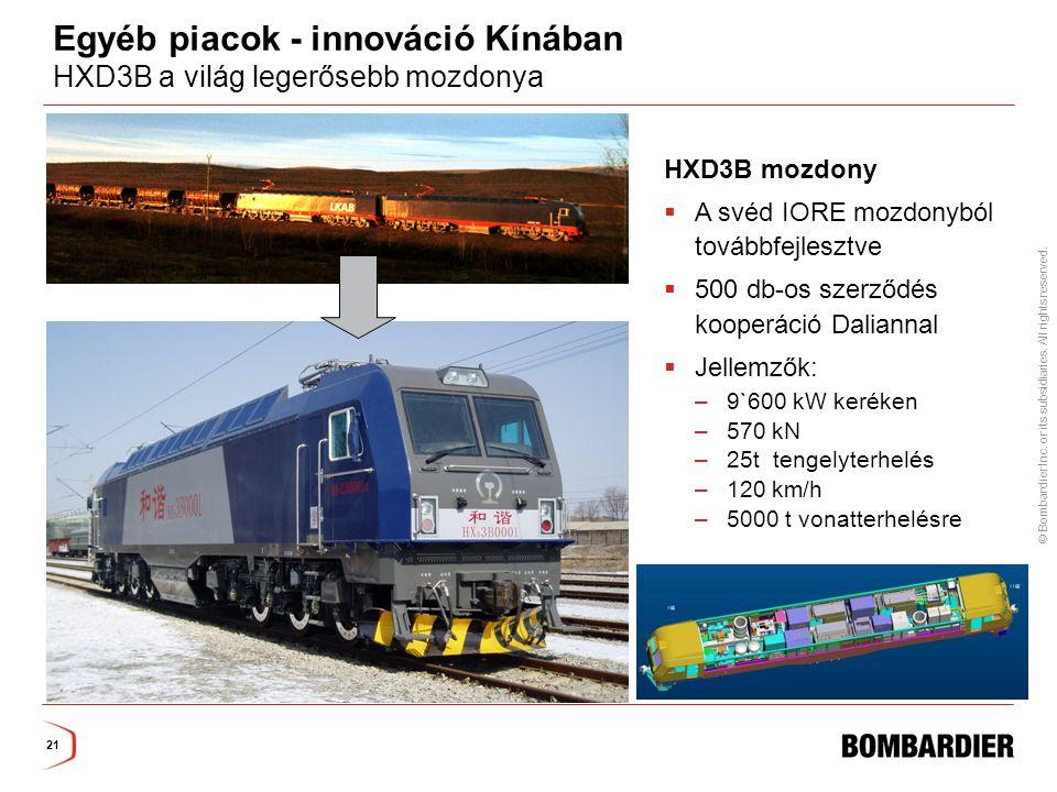 Egyéb piacok - innováció Kínában HXD3B a világ legerősebb mozdonya