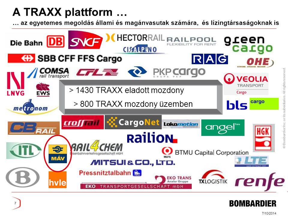 A TRAXX plattform … … az egyetemes megoldás állami és magánvasutak számára, és lízingtársaságoknak is