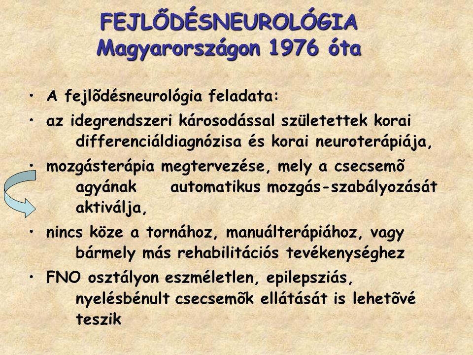 FEJLŐDÉSNEUROLÓGIA Magyarországon 1976 óta