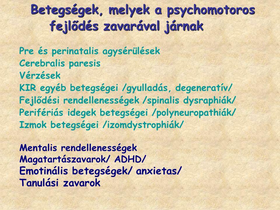 Betegségek, melyek a psychomotoros fejlődés zavarával járnak