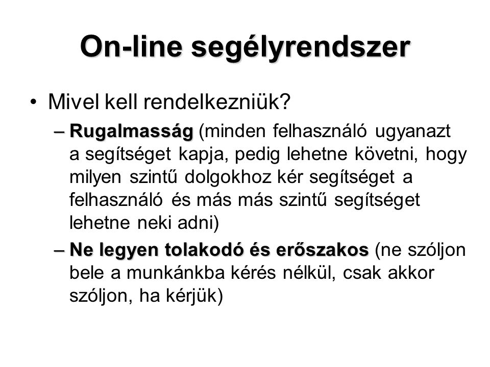 On-line segélyrendszer