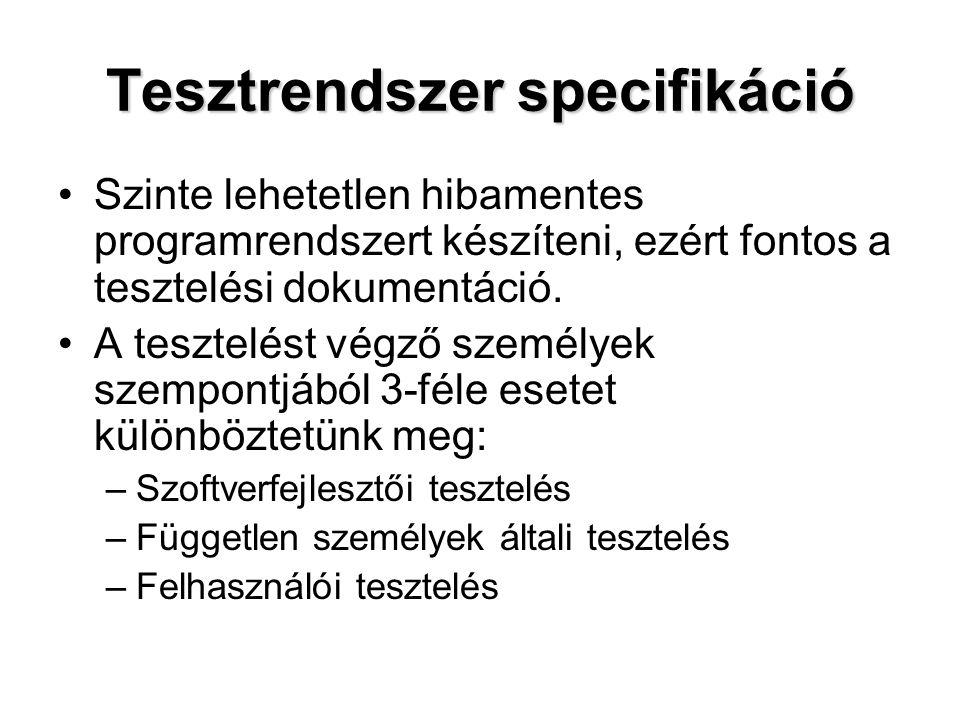 Tesztrendszer specifikáció