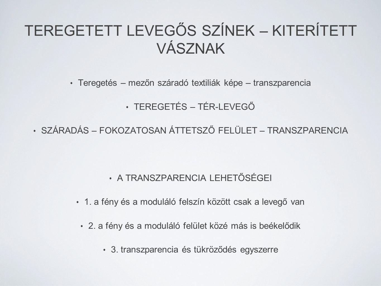 TEREGETETT LEVEGŐS SZÍNEK – KITERÍTETT VÁSZNAK