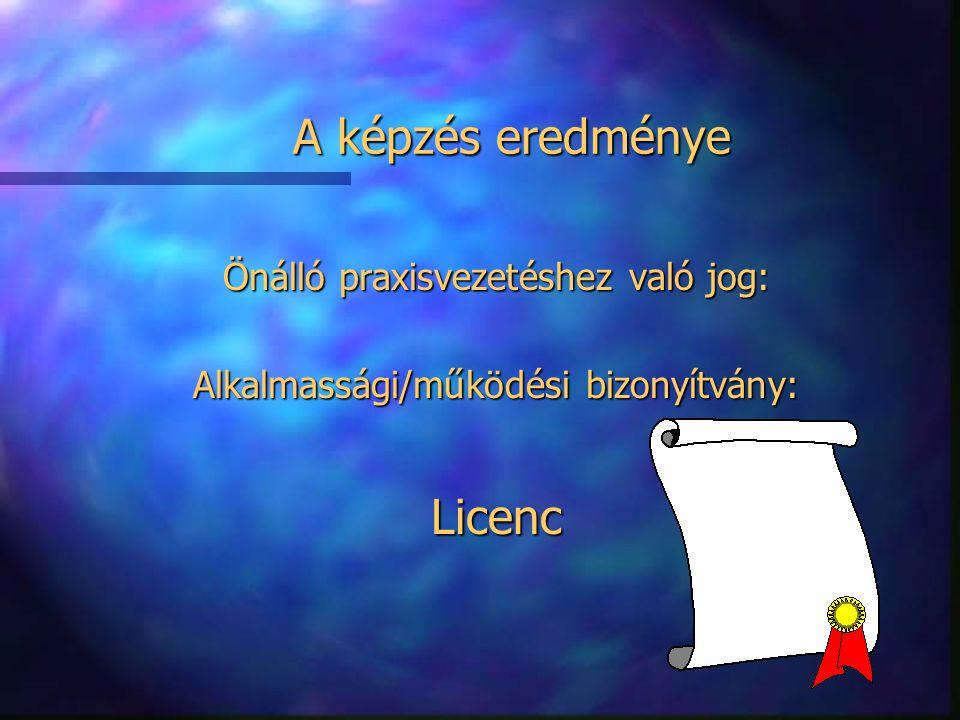 A képzés eredménye Licenc Önálló praxisvezetéshez való jog: