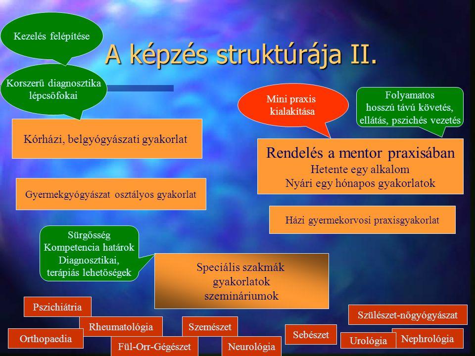 A képzés struktúrája II.