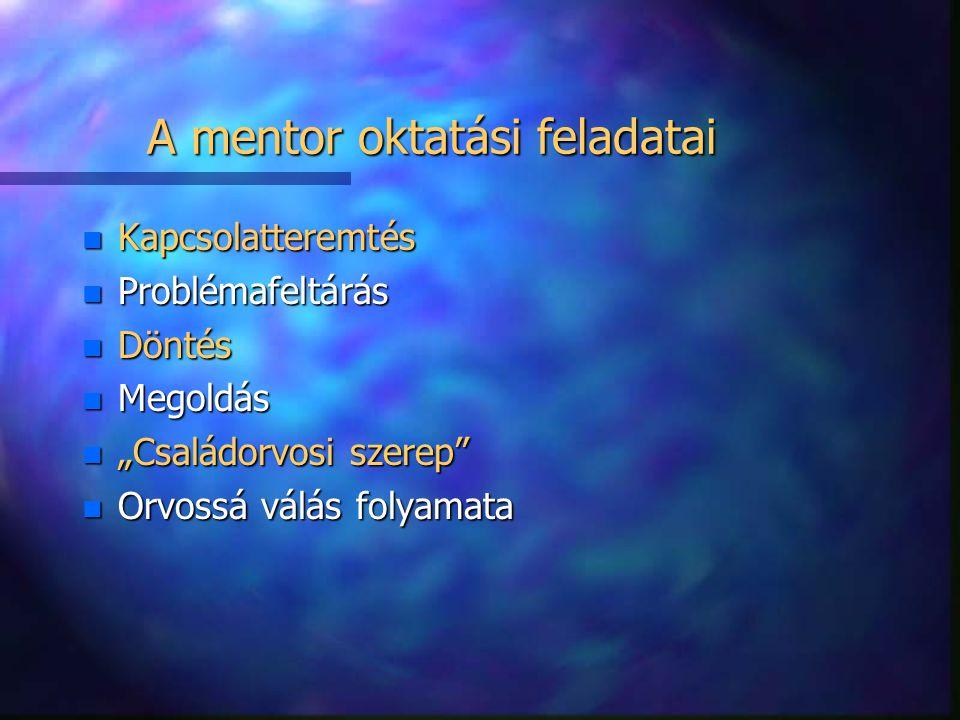 A mentor oktatási feladatai