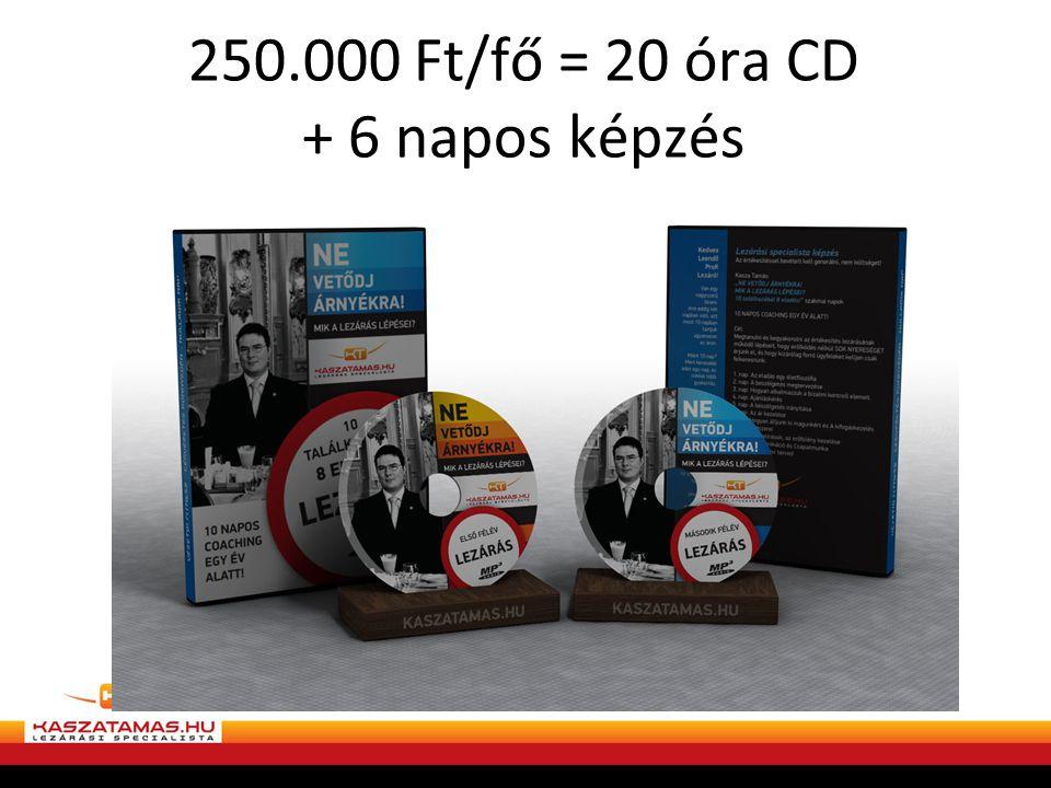 250.000 Ft/fő = 20 óra CD + 6 napos képzés