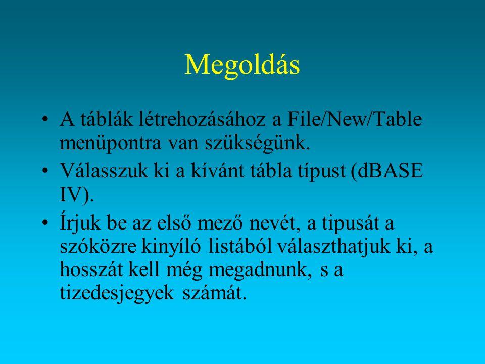 Megoldás A táblák létrehozásához a File/New/Table menüpontra van szükségünk. Válasszuk ki a kívánt tábla típust (dBASE IV).