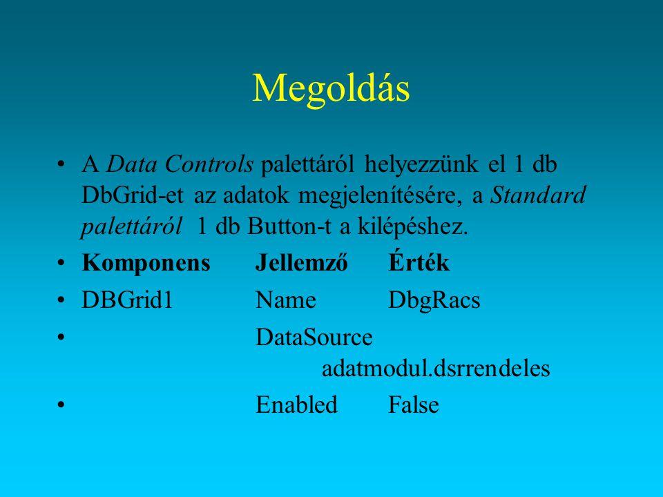Megoldás A Data Controls palettáról helyezzünk el 1 db DbGrid-et az adatok megjelenítésére, a Standard palettáról 1 db Button-t a kilépéshez.