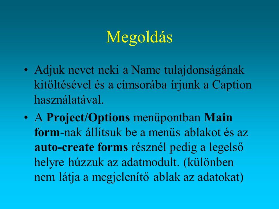 Megoldás Adjuk nevet neki a Name tulajdonságának kitöltésével és a címsorába írjunk a Caption használatával.