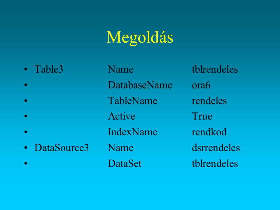 Megoldás Table3 Name tblrendeles DatabaseName ora6 TableName rendeles