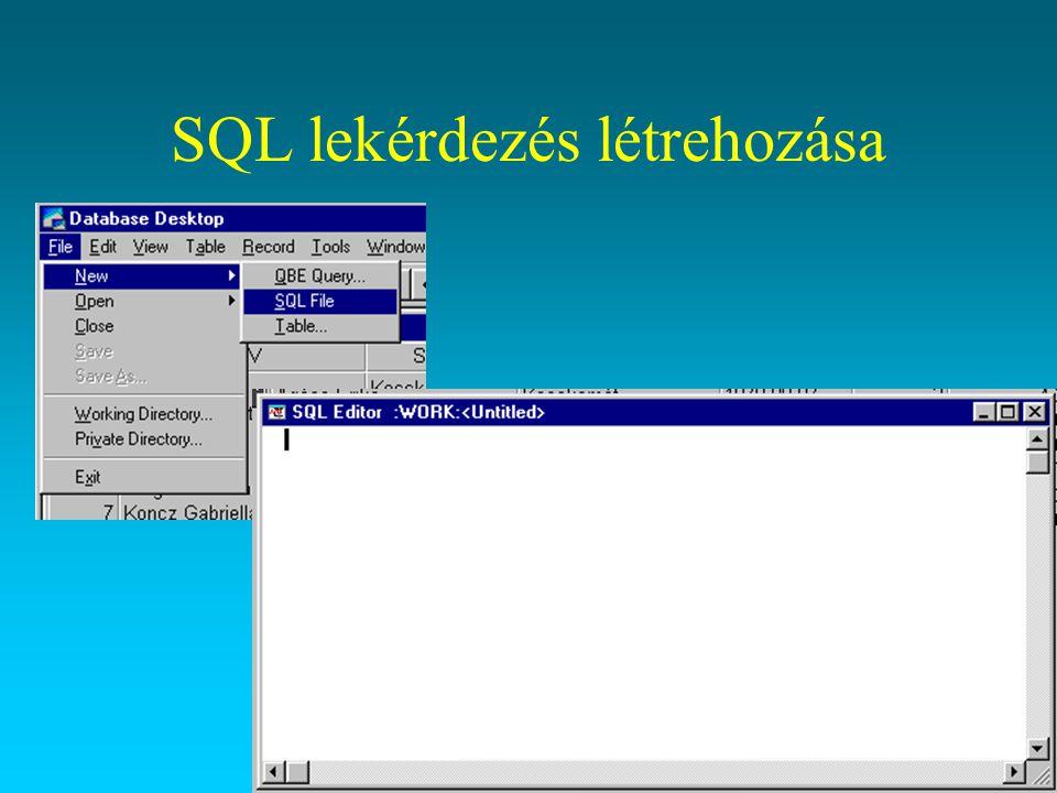 SQL lekérdezés létrehozása