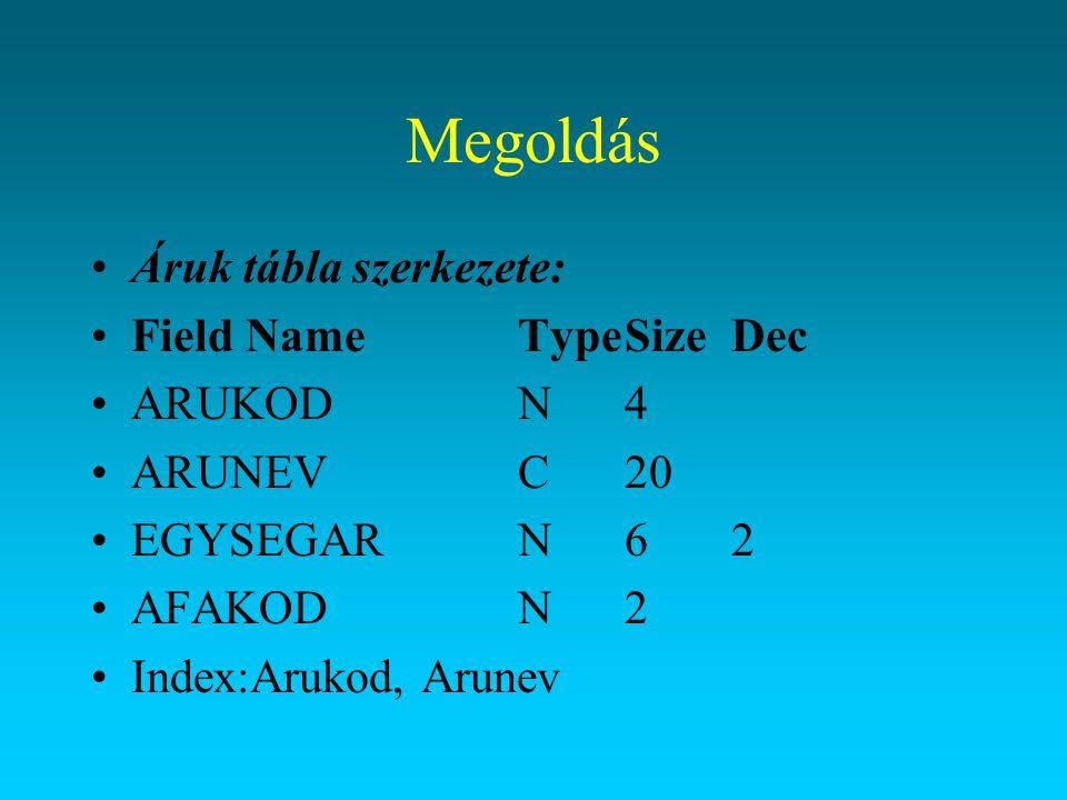 Megoldás Áruk tábla szerkezete: Field Name Type Size Dec ARUKOD N 4
