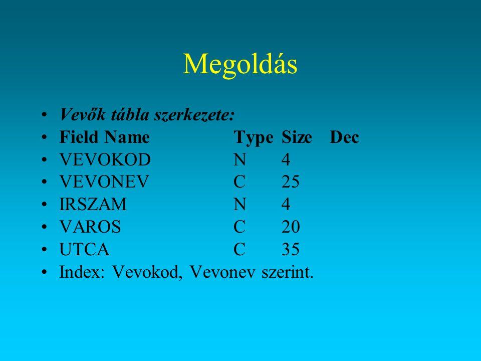 Megoldás Vevők tábla szerkezete: Field Name Type Size Dec VEVOKOD N 4