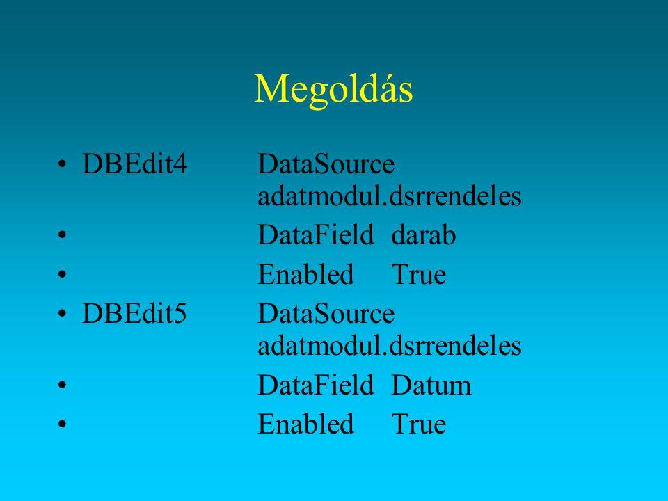 Megoldás DBEdit4 DataSource adatmodul.dsrrendeles DataField darab