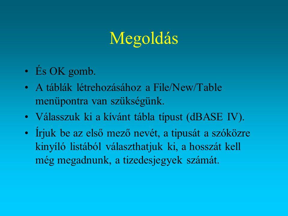 Megoldás És OK gomb. A táblák létrehozásához a File/New/Table menüpontra van szükségünk. Válasszuk ki a kívánt tábla típust (dBASE IV).