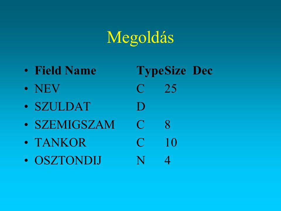 Megoldás Field Name Type Size Dec NEV C 25 SZULDAT D SZEMIGSZAM C 8
