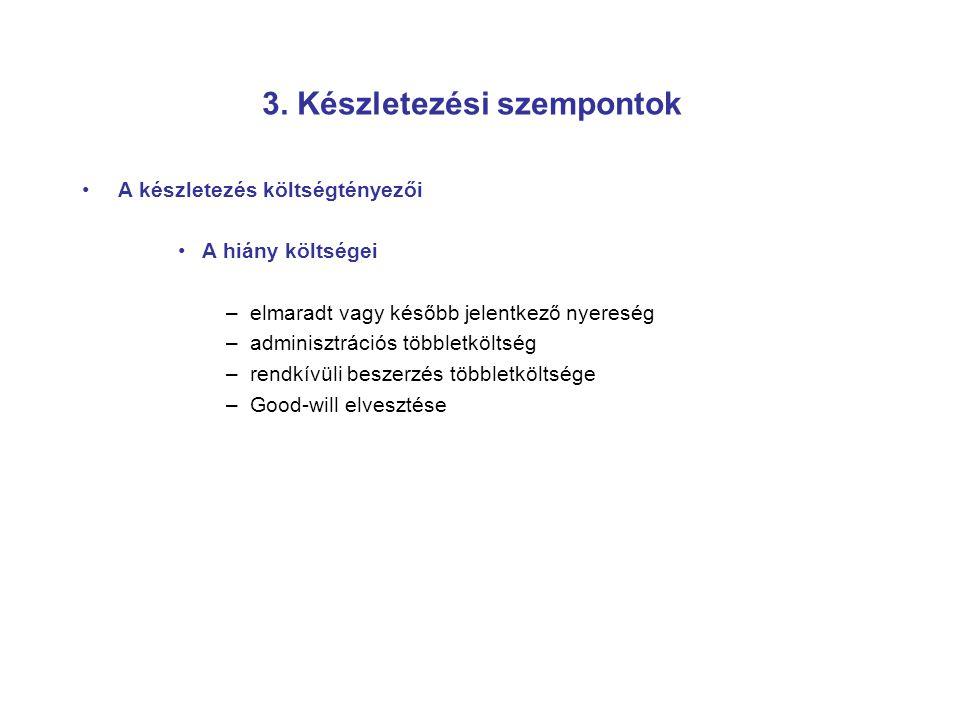 3. Készletezési szempontok