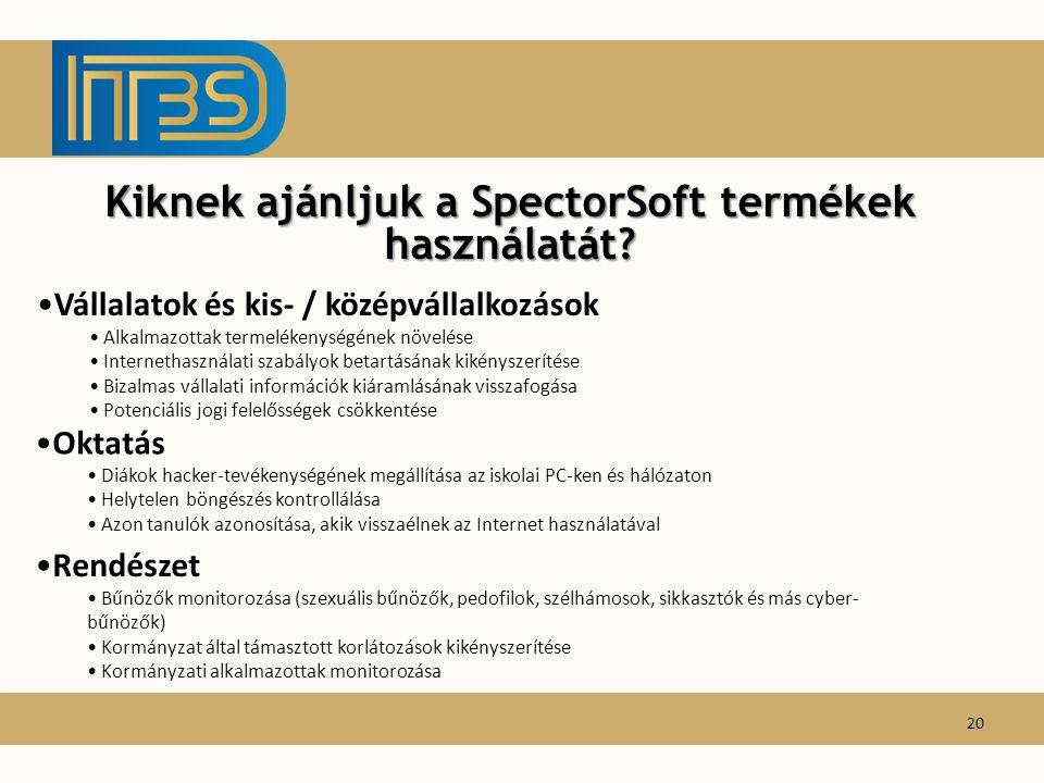 Kiknek ajánljuk a SpectorSoft termékek használatát