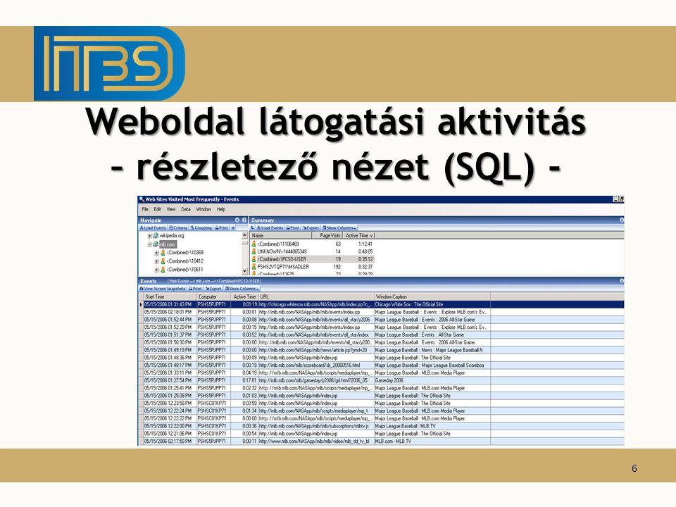 Weboldal látogatási aktivitás – részletező nézet (SQL) -