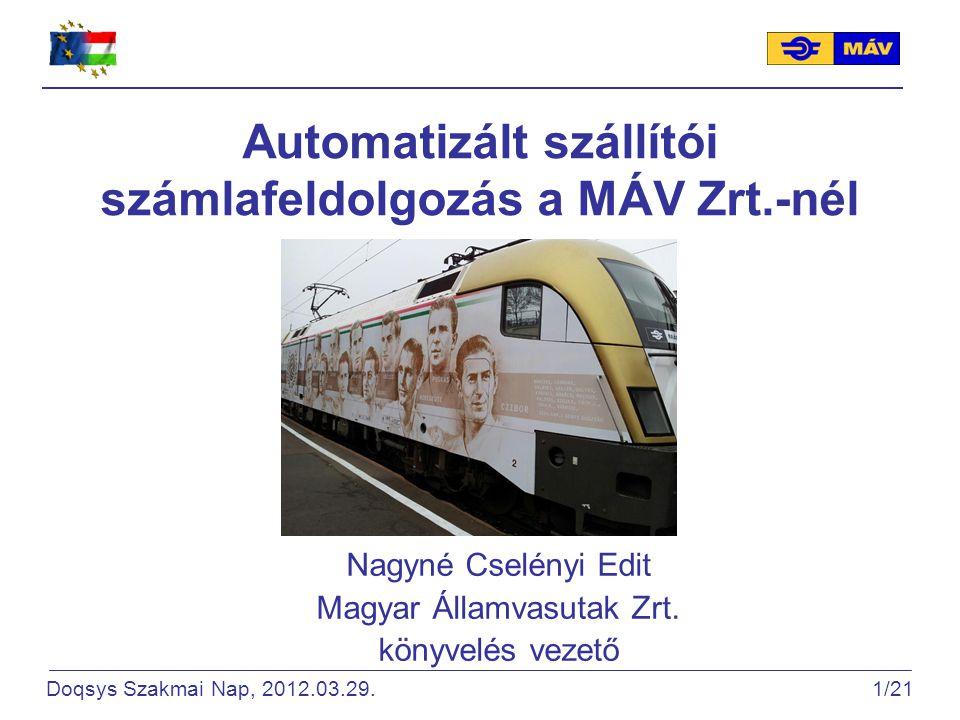 Automatizált szállítói számlafeldolgozás a MÁV Zrt.-nél