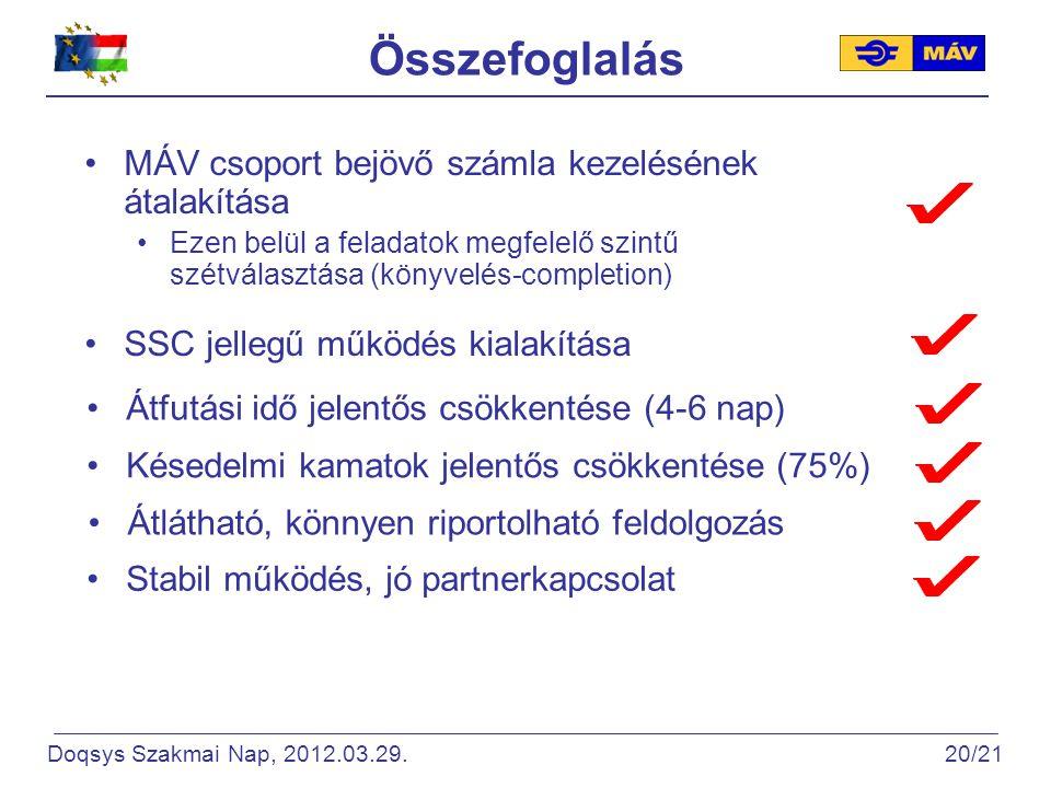 Összefoglalás MÁV csoport bejövő számla kezelésének átalakítása