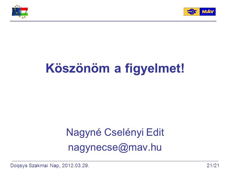 Köszönöm a figyelmet! Nagyné Cselényi Edit nagynecse@mav.hu