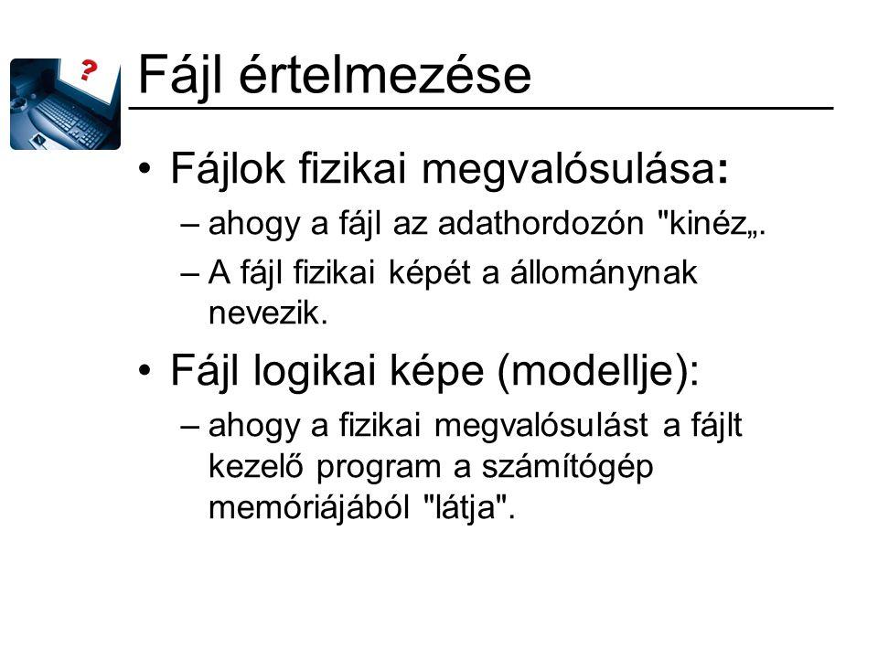 Fájl értelmezése Fájlok fizikai megvalósulása:
